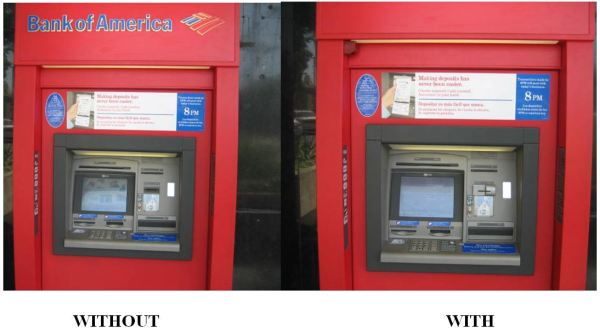 ATM without and with a skimmer